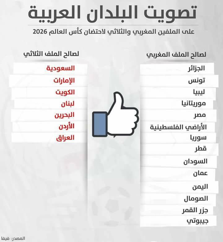 يا للعار: 7 دول عربية صوتت ضد المغرب في إستضافته لكأس العالم 2026