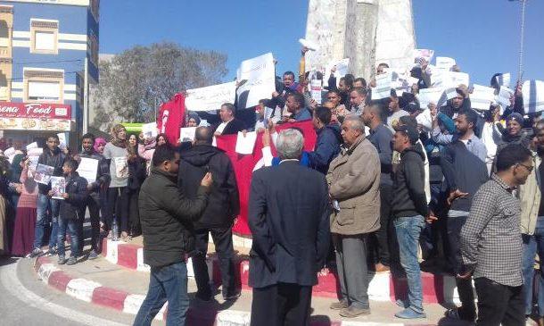 مسيرة حاشدة بالرقاب للتنديد بإيقاف عون بالحرس الوطني