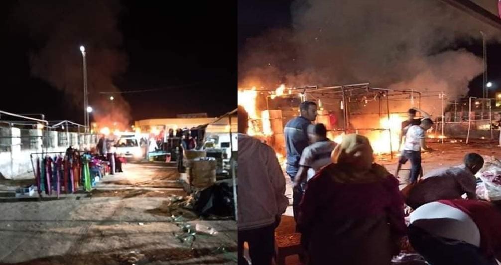 البارحة في توزر : النيران تتصاعد في حي تجاري وسط المدينة وتخلف بعض الأضرار