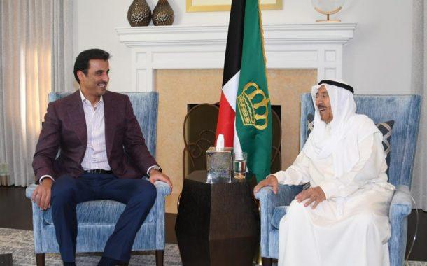 أمير قطر يزور أمير الكويت في مقر إقامته بنيويورك