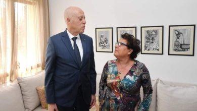 """Photo of قيس سعيد يلحق المناضلة الحقوقية راضية النصراوي لمؤلف """"شهيرات التونسيات"""""""