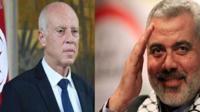 صورة مكالمة هاتفية تجمع رئيس الجمهورية برئيس المكتب السياسي لحركة حماس