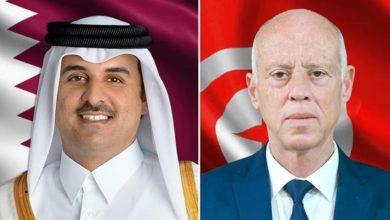 صورة رئيس الجمهورية يتلقى اتصالا هاتفيا من أمير دولة قطر